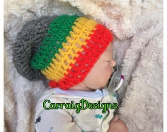 Baby boy/girl crocheted,knitted hippie hippy,boho,Slouch or Fitted beanie,rasta jamaican unique designer,kids newborn hats,shower gifts,over