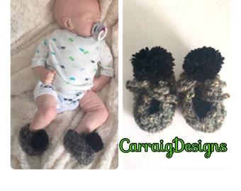 Baby boy crocheted pompom booties,unique designer shoes slippers,boots,newborn handmade,pregnancy shower gift,0-3 3-6,grey black irish aran