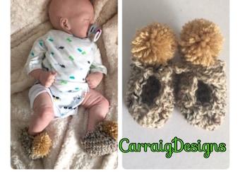 Baby boy crocheted pompom booties,unique designer shoes slippers,boots,newborn handmade,pregnancy shower gift,0-3 3-6,cream beige irish aran