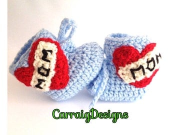 Baby boy,love mom or love Dad crocheted,knitted booties,tattoo,shoes slippers, high top boots,unique designer newborn handmade,ooak.