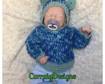 0-3 months Baby boy,crocheted,knitted hooded ears sweater,hoodie cream,blue multi,unique designer,kids baby boy newborn shower gifts,