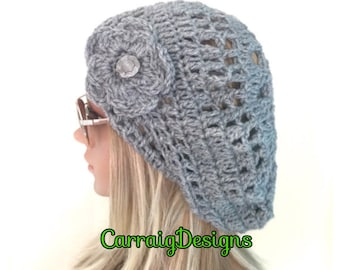 BUY1GET1HALFPrice Womens/teens handmade crocheted/knit oversized slouch beanie beret hat,grey irish aran flower,circle mandala,holiday gift