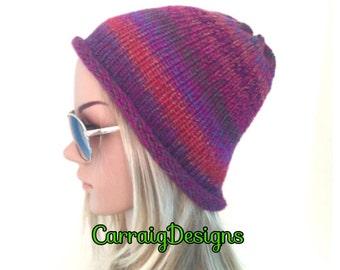 BUY1GET1HALFPrice hand knit womens beanie hat Ooak Unique designer teens crochet wine pink multicolour,hippie festival lace cloche hat