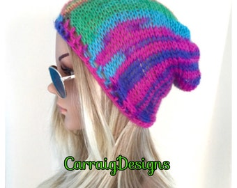 BUY1GET1HALFPrice unique designer womens/teens hand crocheted/knitted oversized slouch beanie snood hat,alpaca soft rainbow,hippie boho.