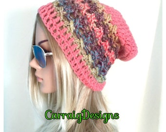 BUY1GET1HALFPrice Womens/teens hand crocheted/knitted oversized slouch beanie beret hat,peach,unique lace rainbow, multicolour slouchy,snood