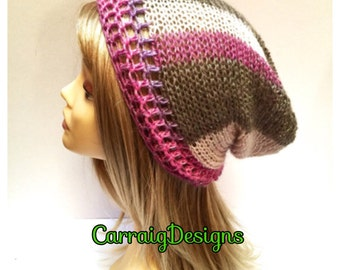BUY1GET1HALFPrice unique designer womens/teens hand crocheted/knitted oversized slouch beanie snood hat,pink,grey hippie boho.