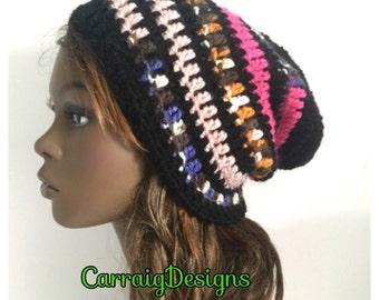BUY1GET1HALFPrice unique designer womens/teens hand crocheted/knitted oversized slouch beanie snood hat,black,rainbow,hippie boho,ooak.