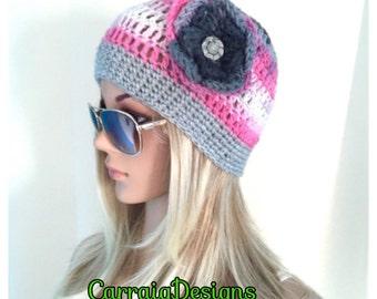 BUY1 GET1 HALF Price Ooak Unique designer womens,teens hand crocheted/knitted beanie hat,grey,pink,cream,aran multicolour,flower.