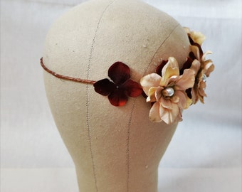 Romantic brown rose and white pearl flower headpiece floral crown, nature woodland bridal boho gift birthday present