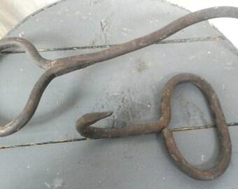 Pair of farm fresh antique iron hay hooks