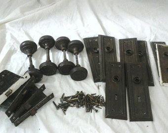 Antique door hardware Steel door hardware sets locks knobs mortise backplates and screws