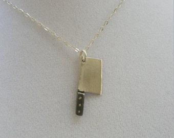 Sterling silver butcher knife pendant