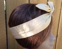 Wired Dolly Bow Wire Headband Bahama Tan  Rockabilly Rabbit Ears  Scarf - Bandana