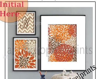 Flowers Personalized Orange Brown Khaki Tan  Art Wall Gallery Print Set of (3) - Prints - 11x14, 8x10, 5x7, (UNFRAMED) #251068252