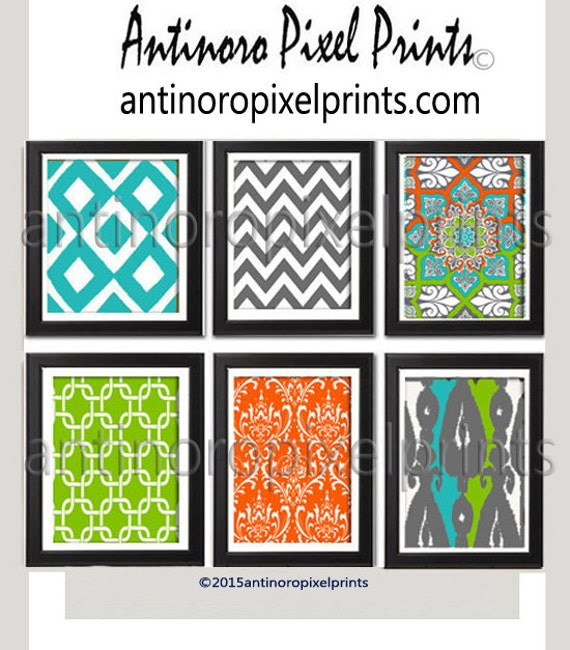Ikat Bright Multi color Home Decor Art Prints Collection -Set of 6 - 8x10 Prints  - Turquoise Chartreuse Grey Orange  (UNFRAMED)