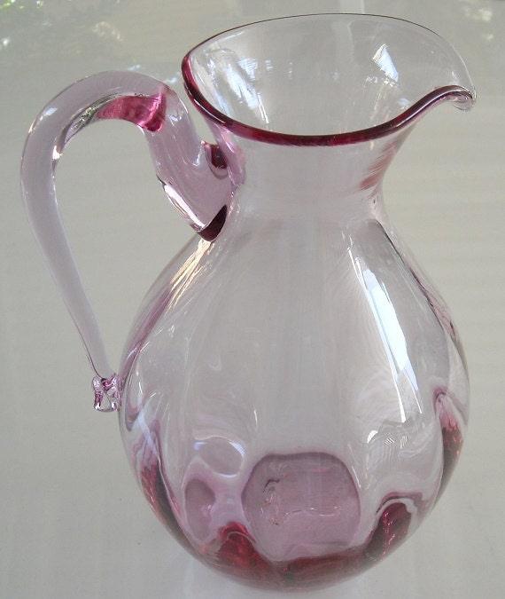 Vintage Blown Glass Pitcher Lavender Pink Art Glass Water