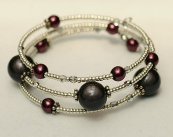 Silver and Marsala wired bracelet