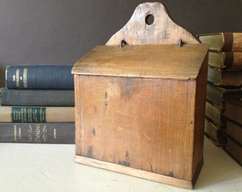 Antique French Wooden Salt Sel Storage Box ~ With Wood Lid ~ French Farmhouse