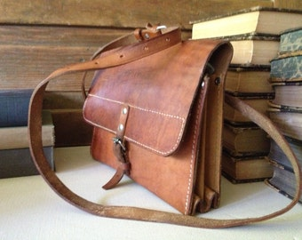 Handcrafted Vintage Brown Leather Crossbody Messenger Saddle Bag ~ Document Carrier Briefcase Satchel ~ Swiss Army