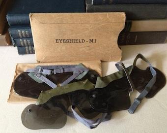 US Army WWII Tank Helmet Eye Shields ~ Set of 3 in Original Case