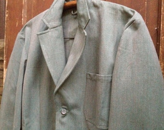 1950s Swedish Chore Jacket, Mens Denim Jacket, Hunting Field Coat Blazer Green Cotton Mid Century