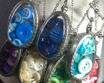 Button Collection Shadowbox Necklace Pick Your Color