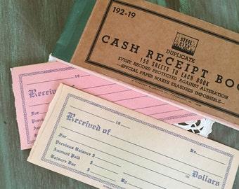 8 Receipts Ephemera / Vintage Cash Receipts / Ephemera Invoice Bill Receipts Pink & Celery Green