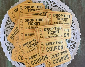 Mustard Tickets / 25 Vintage Double Two-Part Vintage Carnival Raffle Tickets/Coupons Mustard Yellow