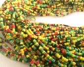 Red, Yellow, Green & Black Handmade African Waist Bead (Thin)