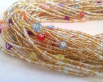 Colourful Alphabet African Handmade Waist Bead *per one strand*