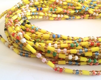 Colourful Yellow Cylinder Beads African Handmade Waist Bead