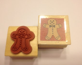 small Gingerbread man rubber stamp, 25 mm (BB4)