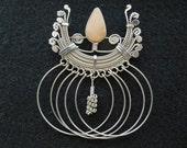 Vintage Brooch.  Unusual.  Wire Design with Semi Precious Stone.  Excellent Condition