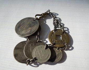 Make An Offer  Vintage Silver Coin Bracelet,  Antique, Belly Dancer, Coins Over 100 Years Old