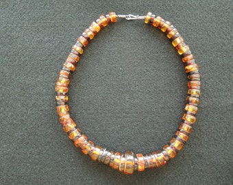 Vintage Amber Necklace, 16 Inches Long, Thick Discs of Light and Dark Amber.  Excellent.