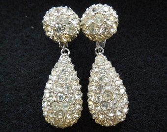 Vintage Rhinestone Earrings, Dangle, Screw Back Type, Marcus Jellinek, Patent 2400513, Excellent Condition.