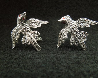 Vintage Silver Earrings With Marcasites, Birds, Screw Back Type, Beautiful and Unusual.  Excellent Condition.
