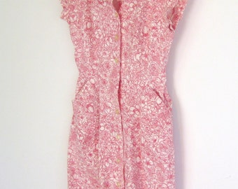 Red and White Floral Vintage Dress