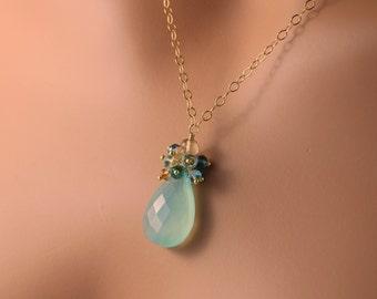 Beach Wedding Necklace, Aqua Chalcedony, London Blue Topaz Gemstone, Bridal Jewelry, Gold Jewelry - Beach Walk - Free Shipping