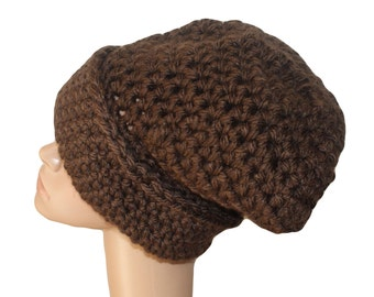 Chunky Slouch Hat, Brown Hat, Slouchy Cap, Chunky Knit Hat, Brown Womens Hat, Mens Brown Hat, Winter Hat, Dread Hat, Warm Winter Hat