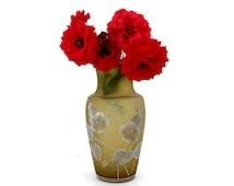 Vintage Amber Satin Glass Vase with Enameled White Flowers