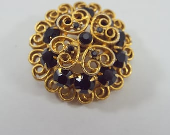 Black Glass and Gold tone filagree Mourning brooch pin