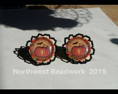 Beaded Clip On Earring Pumpkin and Bat Cabochon Beaded Edging