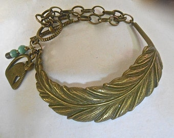 Feather Bracelet Large Antiqued Brass Feather Cat Charm Turquoise Tribal Rustic Unique Inspired by Nature Gift idea
