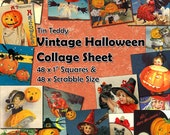 """Vintage Halloween Digital Collage Sheet  - 1 Inch Squares and Scrabble Sized .75"""" x .83"""" Printable for Halloween Crafts"""