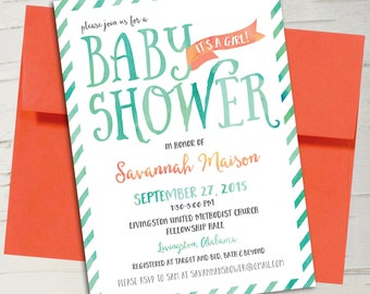 Turquoise & Coral Orange Watercolor Baby Shower Invitation || Stripes