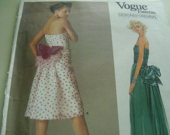 Vintage 1980's Vogue 1554 Designer Original Bellville Sasson Dress Sewing Pattern, Size 14, Bust 36