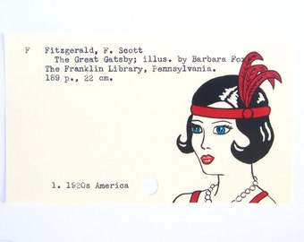 The Great Gatsby - Print of my painting of flapper on library card for The Great Gatsby
