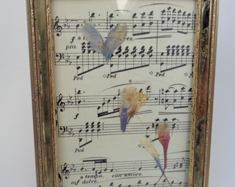 Scattered Hearts: Pressed Flower Art on Antique Music