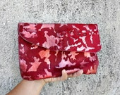 red calf hair animalier printed pochette with zipper and ombre effect, pure Italian leather, ONE OF A KIND, gift idea, evening bag, clutch